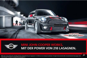 Pferdefleisch in Mini-Werbung: Mini mit 218 Lasagne-Strken